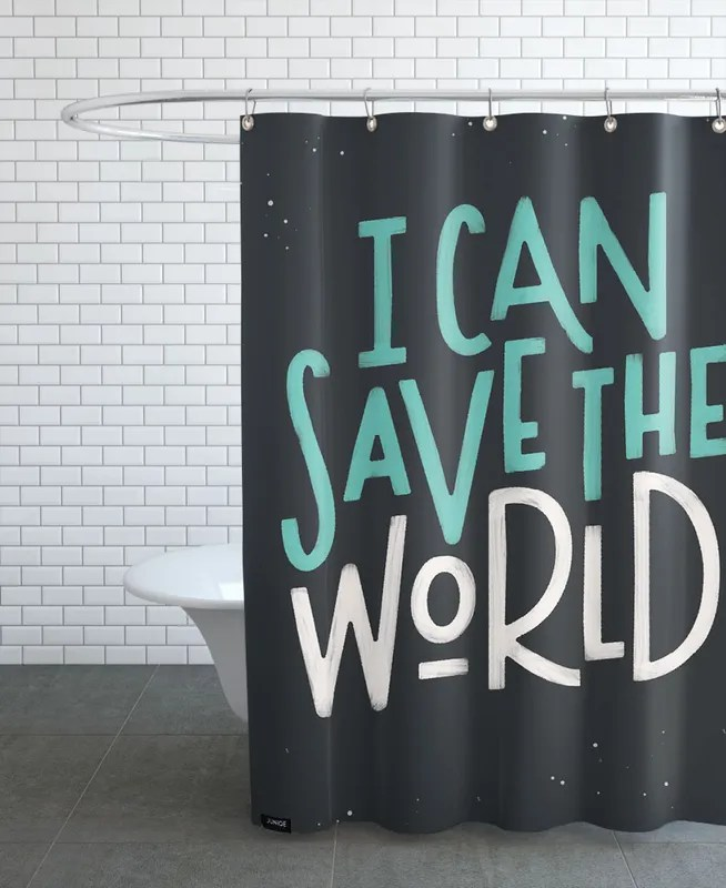 i can save the world shower curtain