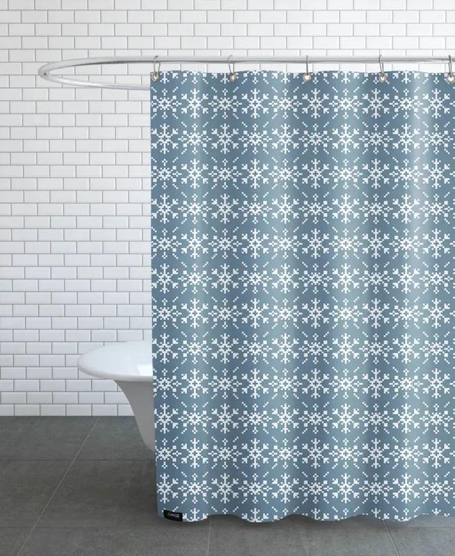 snowflakes blue white shower curtain