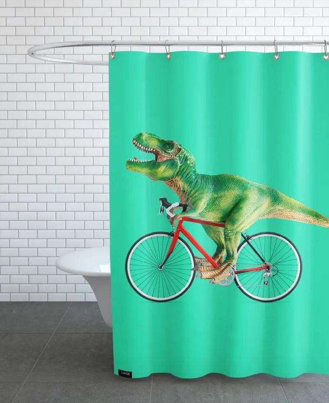 t rex bike shower curtain