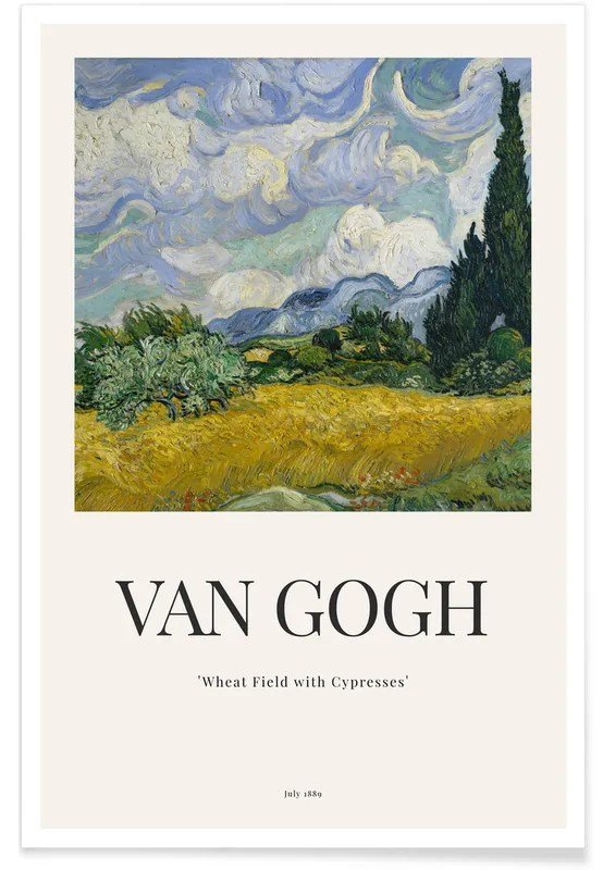 van gogh wheat field with cypresses poster