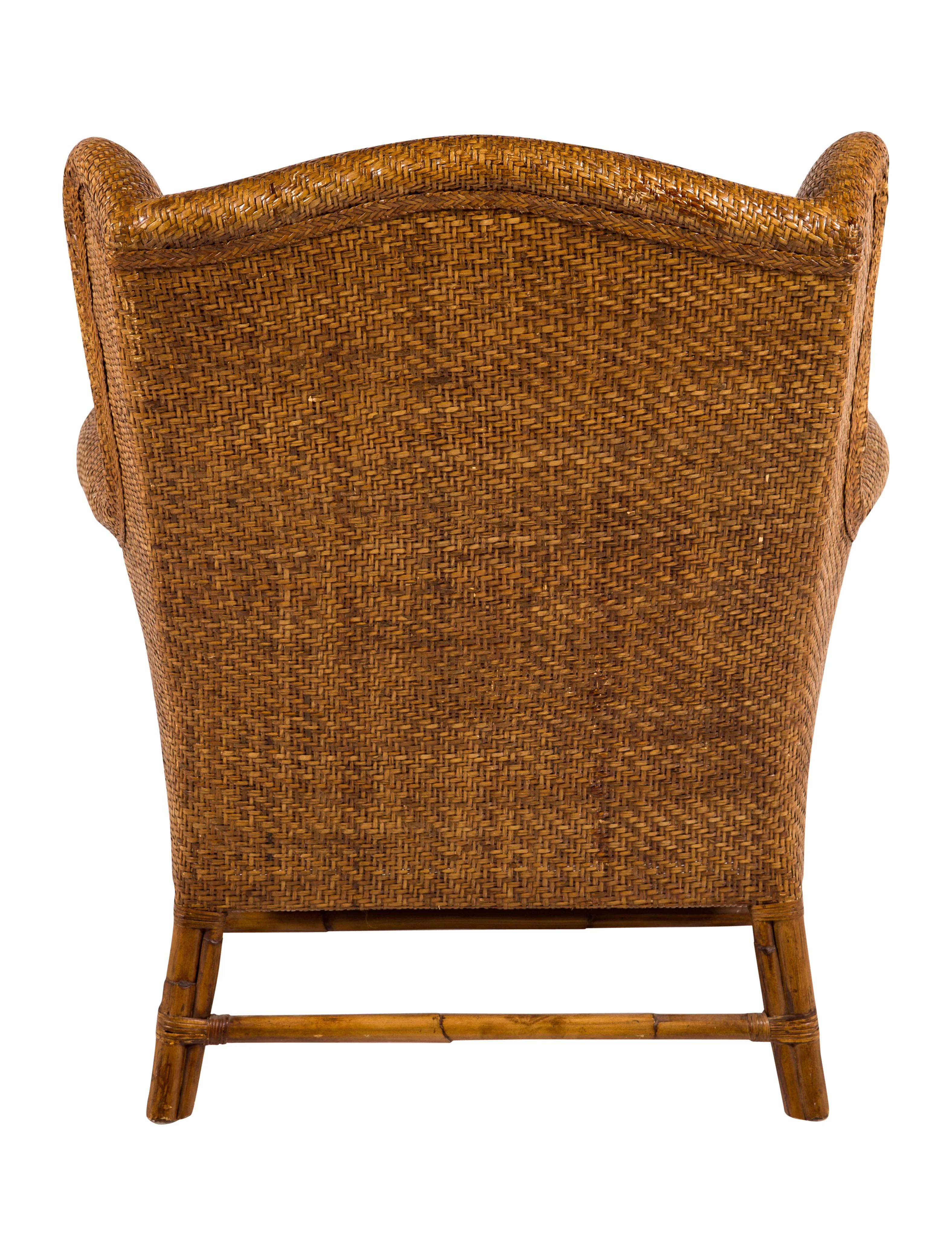 wicker wingback chairs herman miller baker milling road rattan wing chair furniture