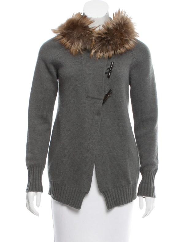 Fur Trimmed Cashmere Cardigan