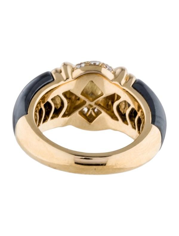 Bvlgari 18k Vintage Diamond And Hematite Ring - Rings