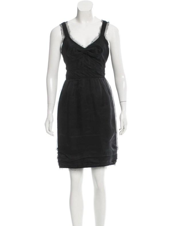 Chanel Raw-edge-trimmed Silk Dress - Clothing Cha154572