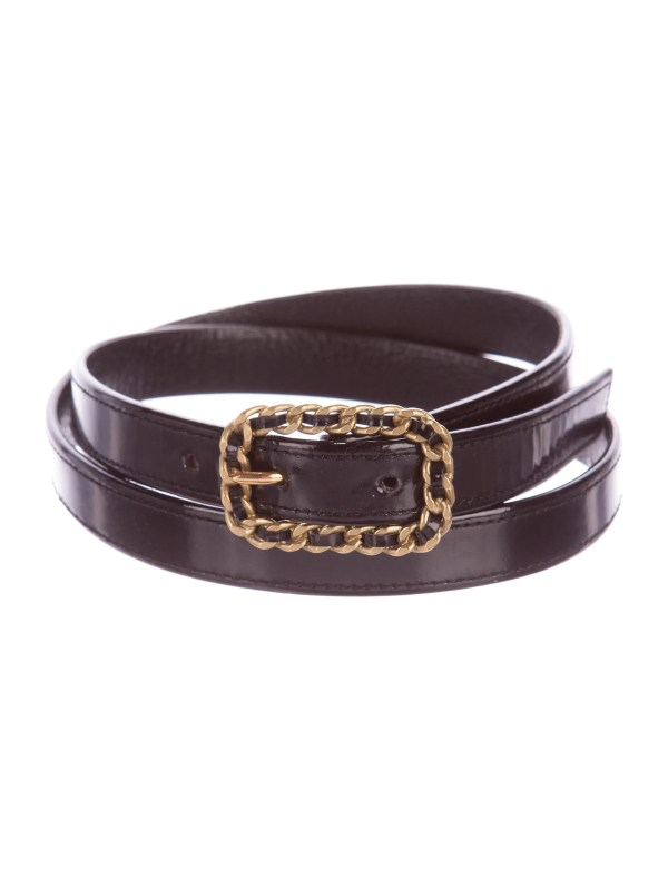 Chanel Embellished Patent Leather Belt - Accessories