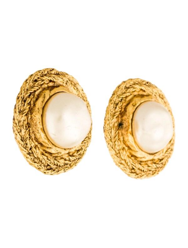 Chanel Faux Pearl Medallion Earrings