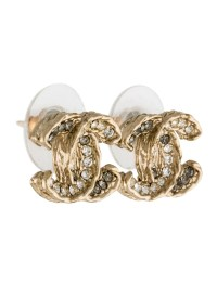 Chanel Crystal CC Logo Stud Earrings - Earrings ...