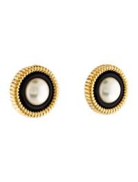 Chanel Faux Pearl & Black Resin Clip On Earrings ...
