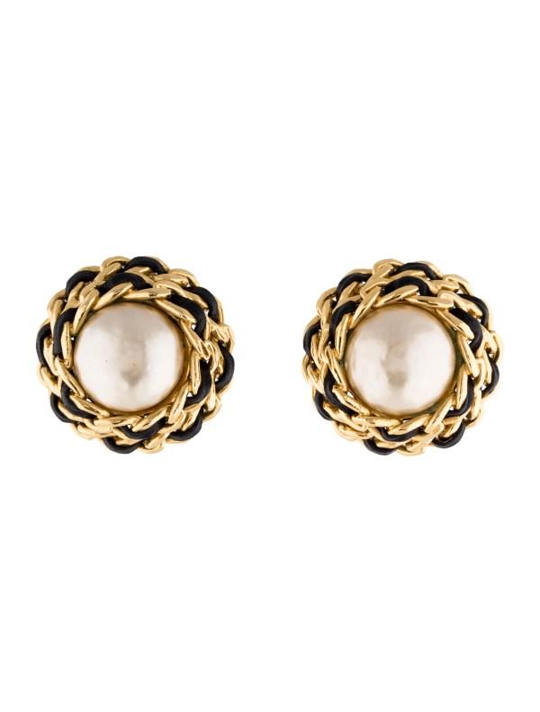 Chanel Faux Pearl Stud Earrings - Cha98642