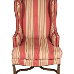 Striped Wingback Chair Red Desk Without Wheels Upholstered Furniture
