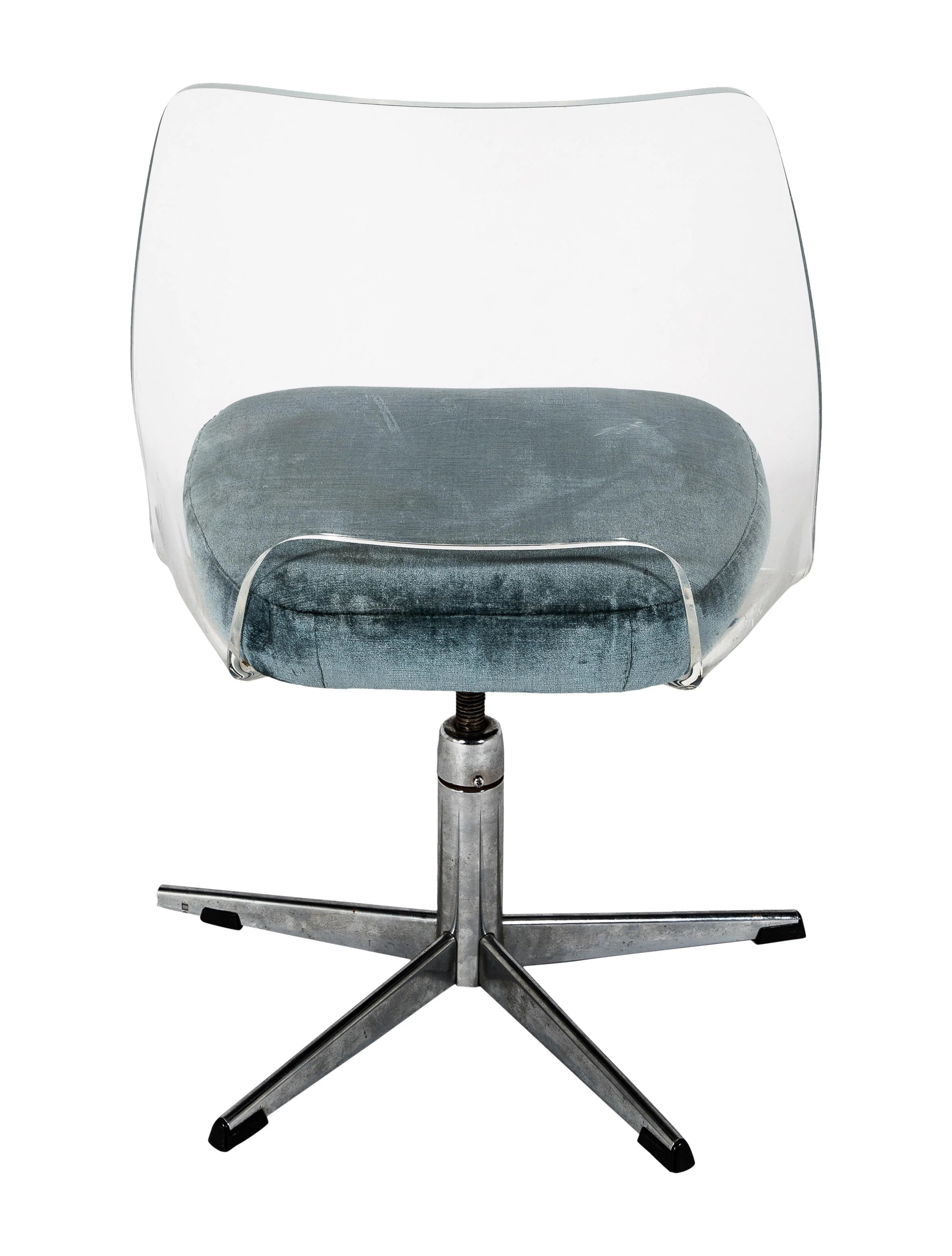 clear acrylic swivel office chair small leather lounge and ottoman doerner faultless lucite upholstered desk