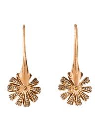 Bochic 18K Diamond Crown Rose Drop Earrings - Earrings ...