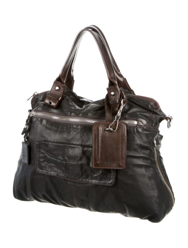 Chlo Distressed Leather Satchel - Handbags Chl44923