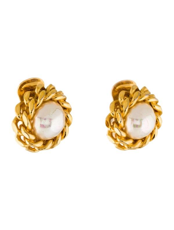 Christian Dior Faux Pearl Clip- Earrings