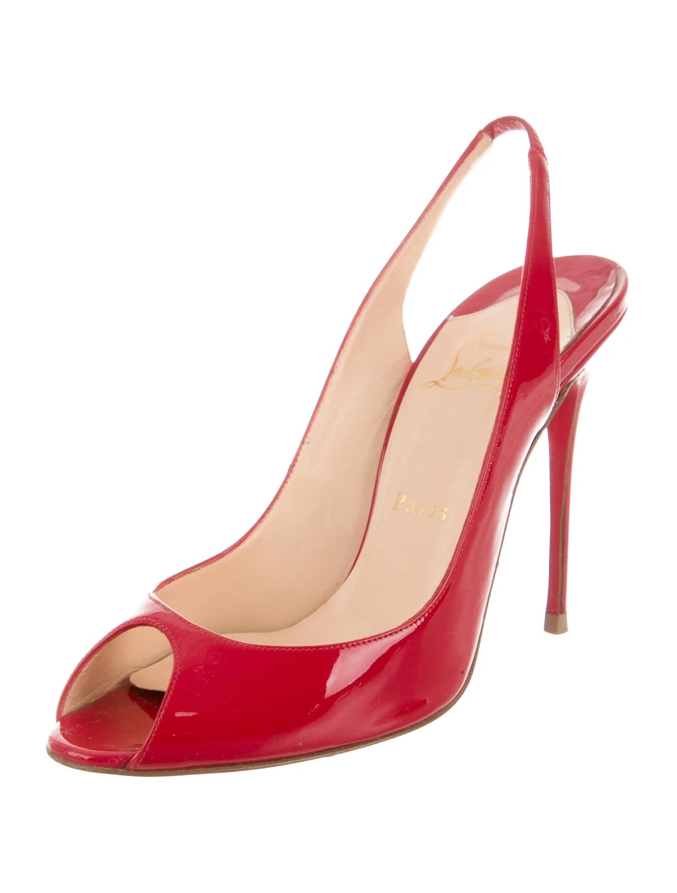 leather sling chairs camp folding christian louboutin patent slingback pumps - shoes cht57435 | the realreal