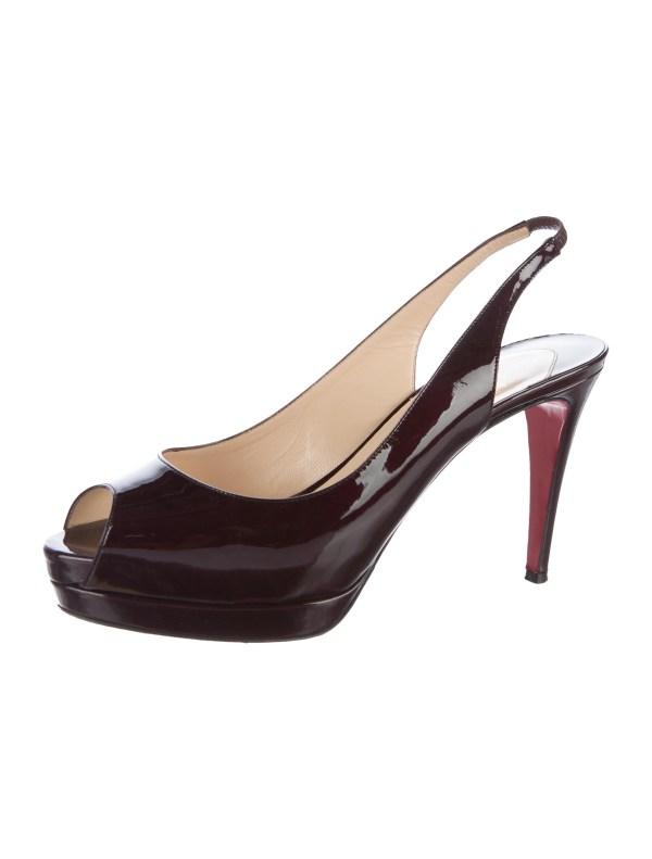 Christian Louboutin Patent Leather Peep-toe Slingback