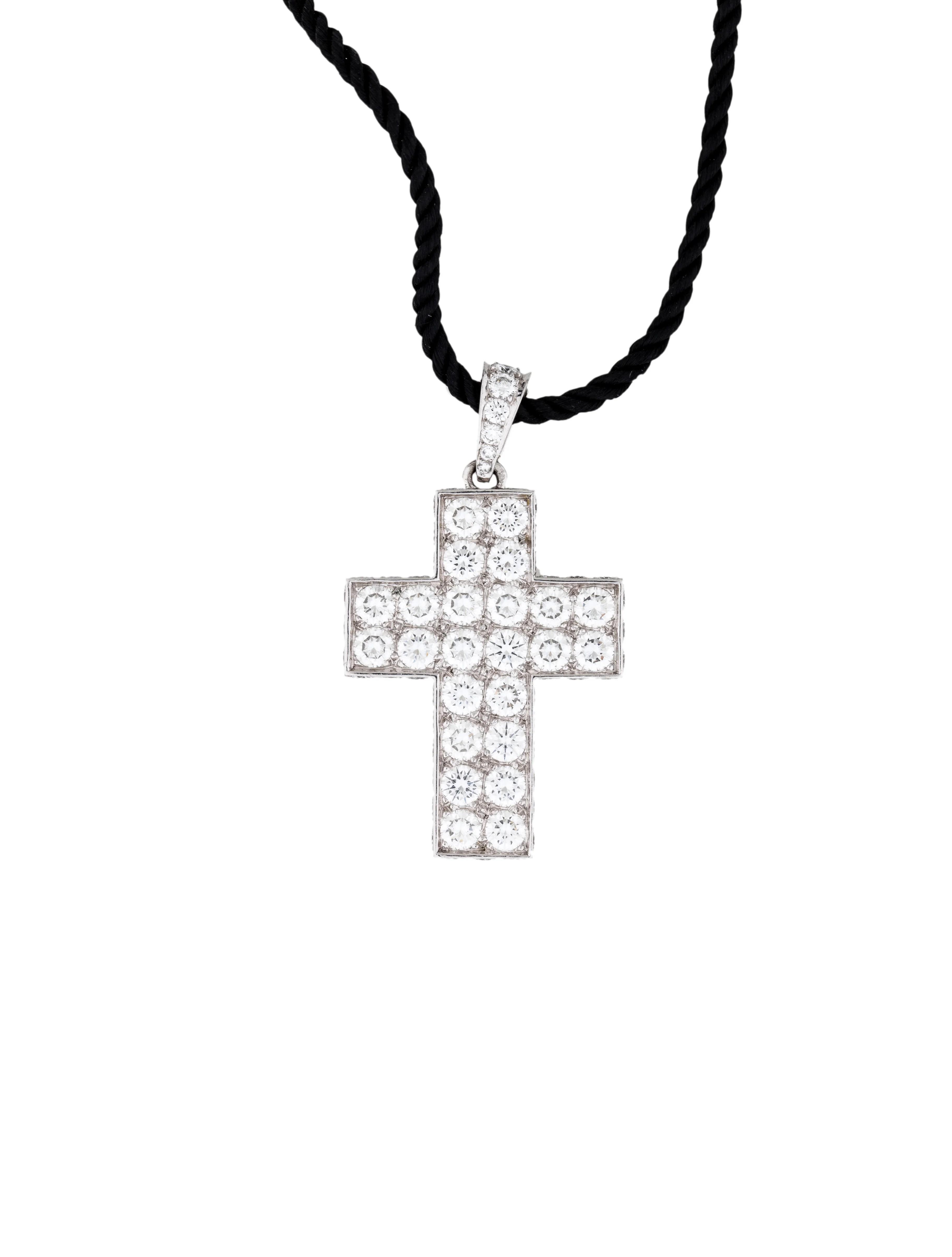 Cartier White Gold Diamond Cross Pendant On Silk Cord