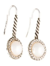 David Yurman Pearl & Diamond Cable Drop Earrings