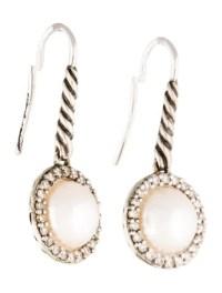 David Yurman Pearl & Diamond Cable Drop Earrings ...