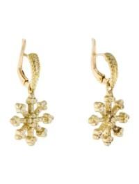 18K Diamond Snowflake Drop Earrings - Earrings ...