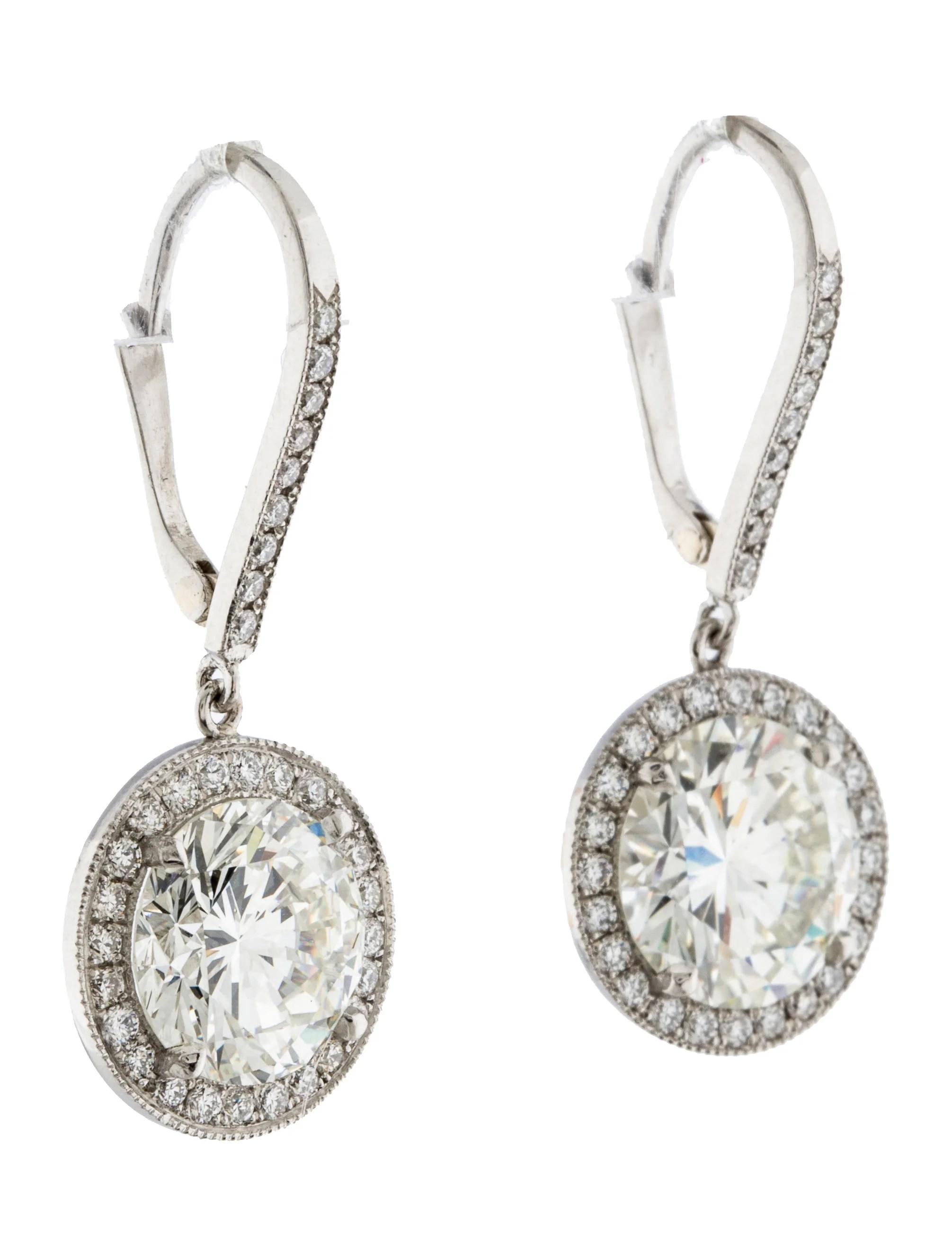 Platinum Diamond Drop Earrings  Earrings  Earri26633