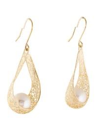 14K Pearl Drop Earrings - Earrings - EARRI31217 | The RealReal