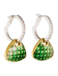 18K Tsavorite & Diamond Earrings w/ Tags - Earrings ...