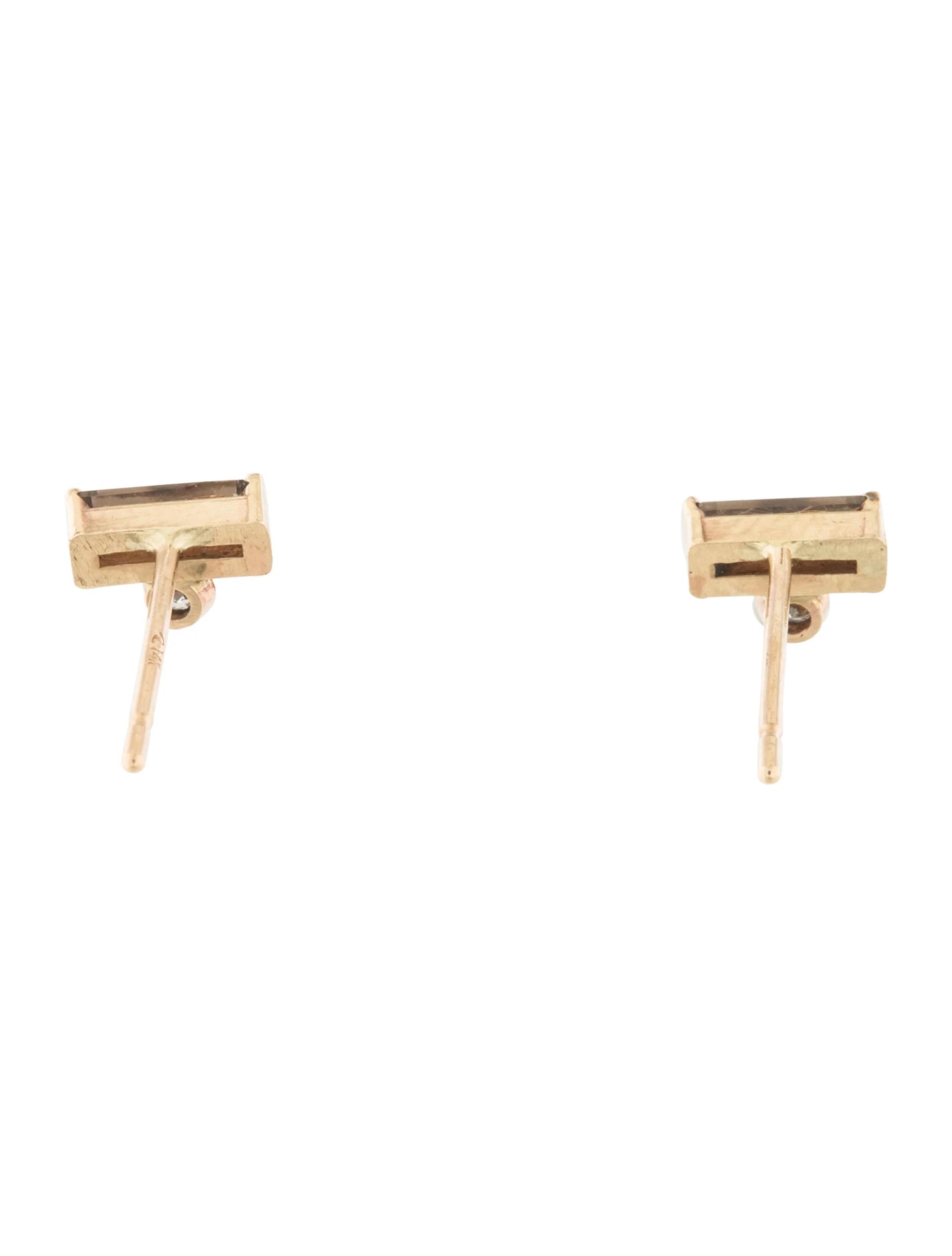 14K Smoky Quartz & Diamond Stud Earrings