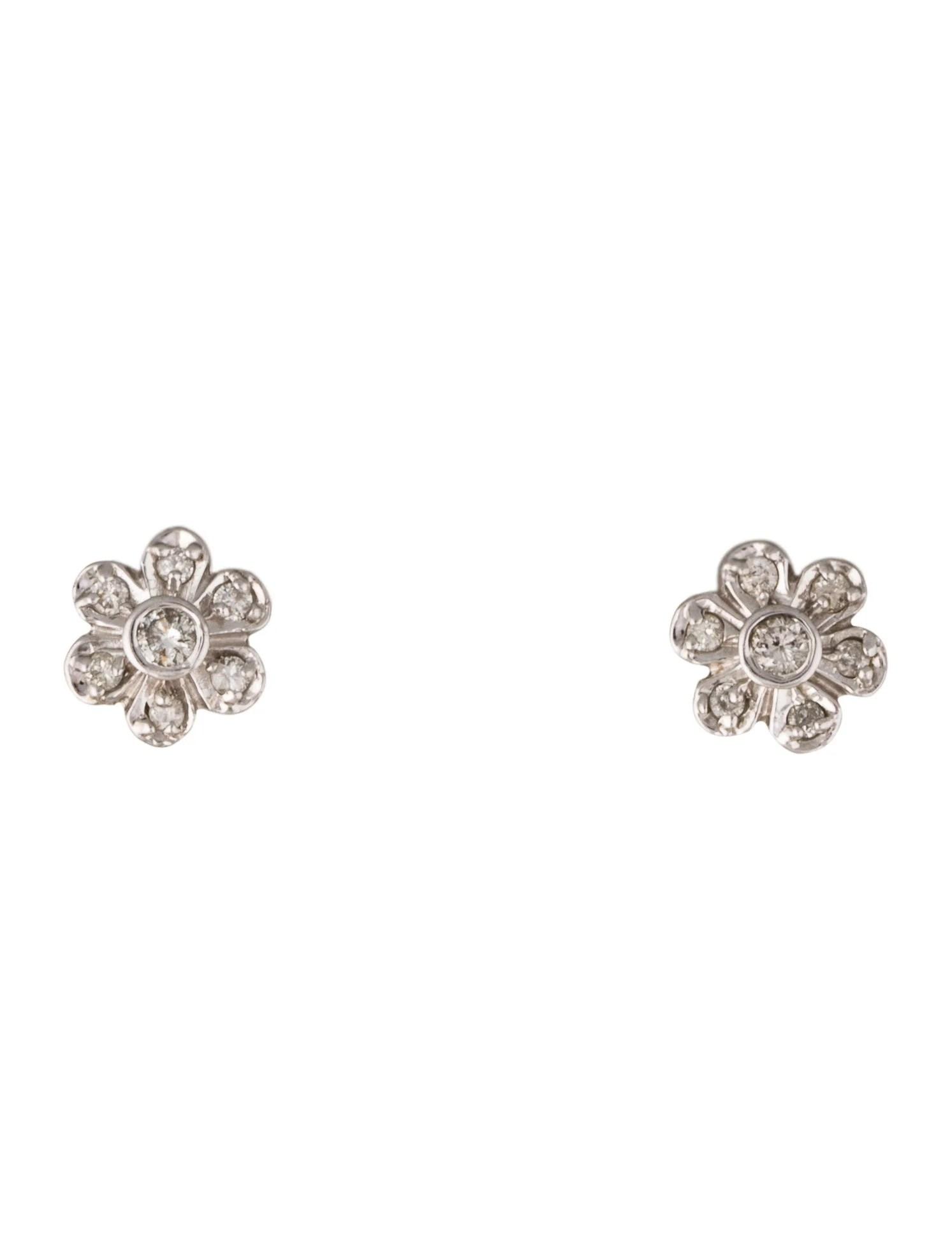 14K Diamond Flower Stud Earrings Earrings EARRI37389