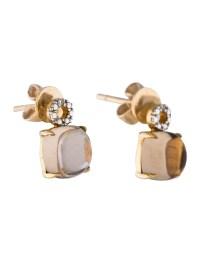14K Smoky Quartz & Diamond Stud Earrings - Earrings ...