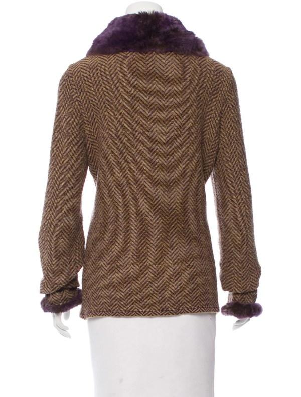 Fur Trimmed Cardigan Sweater