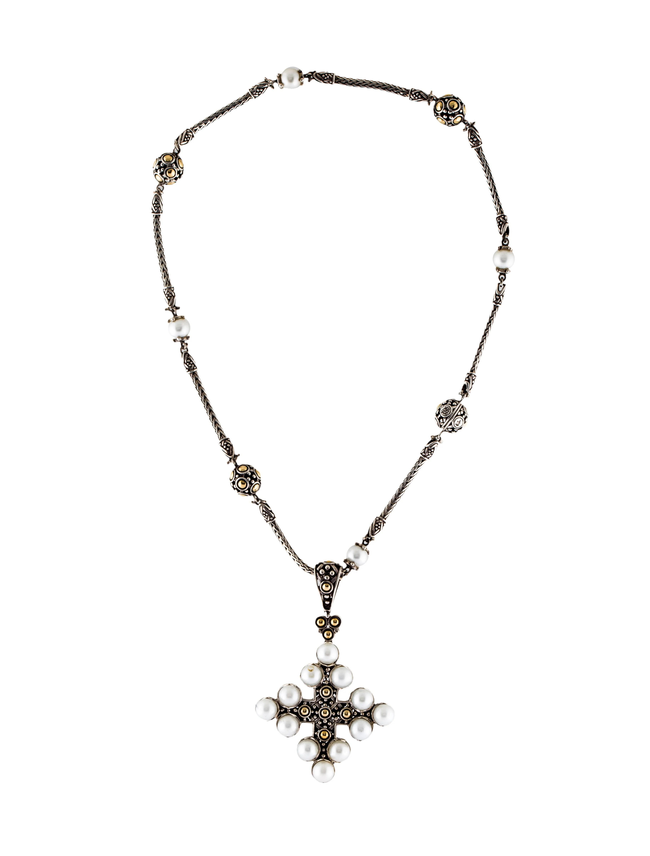 John Hardy Pearl Cross Pendant Necklace