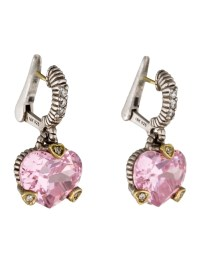 Judith Ripka Diamond & Pink Crystal Heart Drop Earrings