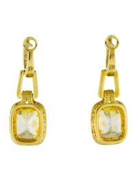Judith Ripka 18K Diamond & Canary Crystal Arianna Drop ...