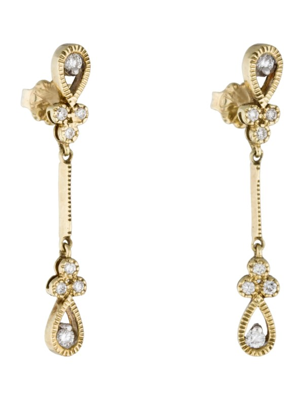 Kc Design 14k Stiletto Diamond Drop Earrings