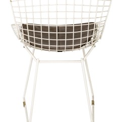 White Bertoia Side Chair Lounge Cushions Sunbrella Knoll Chairs Furniture Knl20098 The