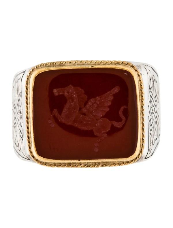 Konstantino TwoTone Carnelian Intaglio Signet Ring