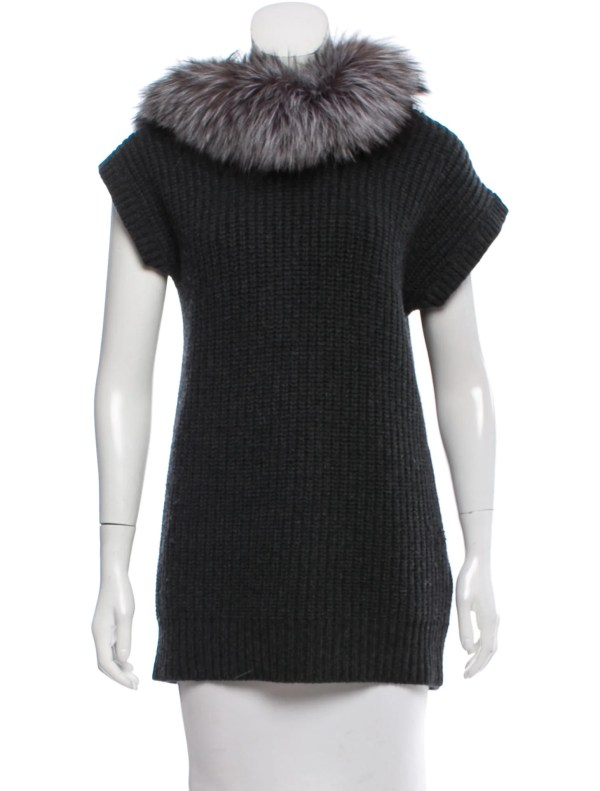 Fur Trimmed Hooded Sweater