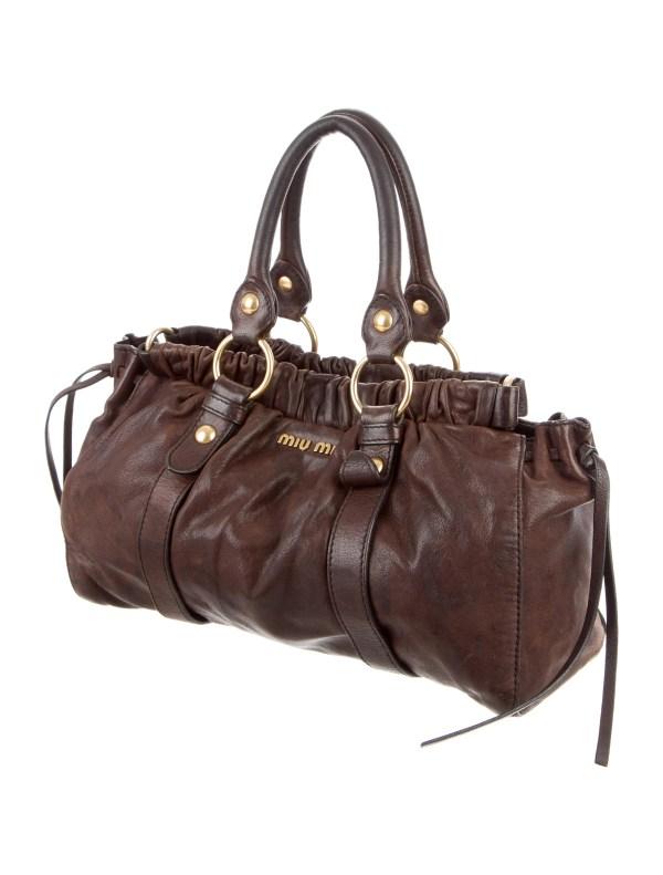 Miu Distressed Leather Satchel - Handbags Miu49766