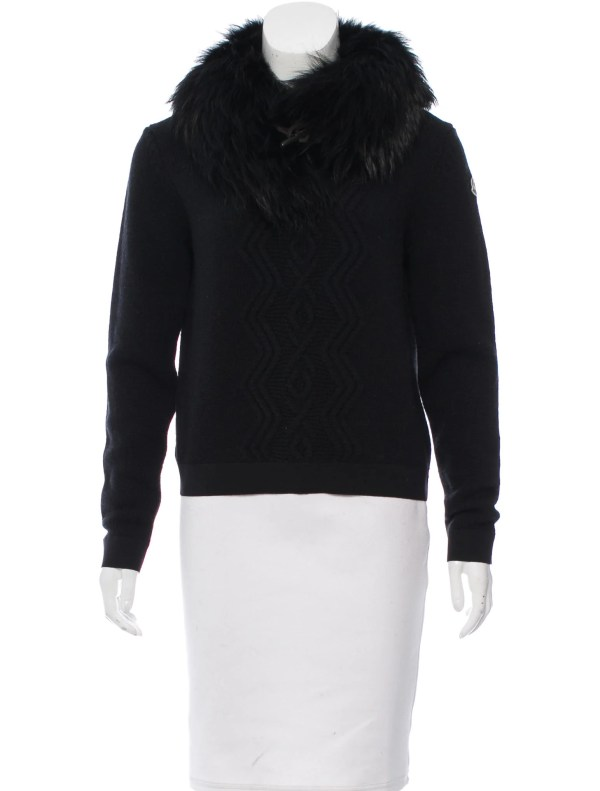 Moncler Fur-trimmed Wool Sweater - Clothing Moc24551
