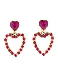 Oscar de la Renta Crystal Heart Drop Earrings