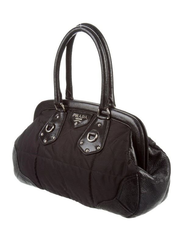 Prada Quilted Chevron Tessuto Dome Bag - Handbags