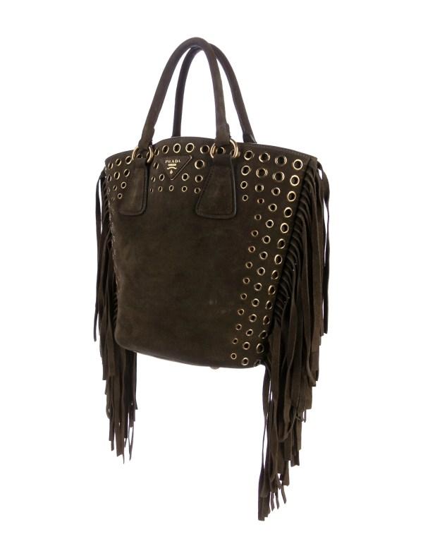 Prada Scamosciato Fringe Tote - Handbags Pra158227
