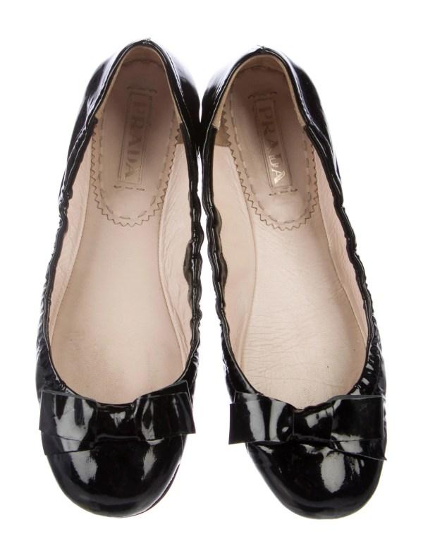 Prada Patent Leather Bow Ballet Flats Shoes PRA166050