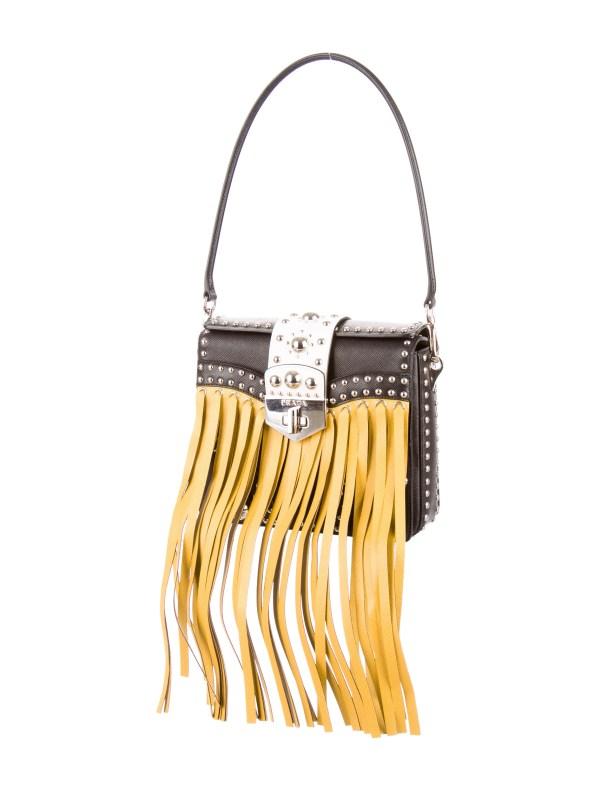 Prada Saffiano Fringe Bag - Handbags Pra92362 Realreal