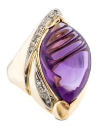 Ring Large Amethyst & Diamond Cocktail Ring - Rings ...