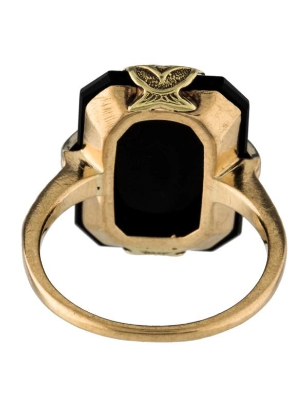 10k Onyx & Diamond Cocktail Ring - Rings Rring39279 Realreal