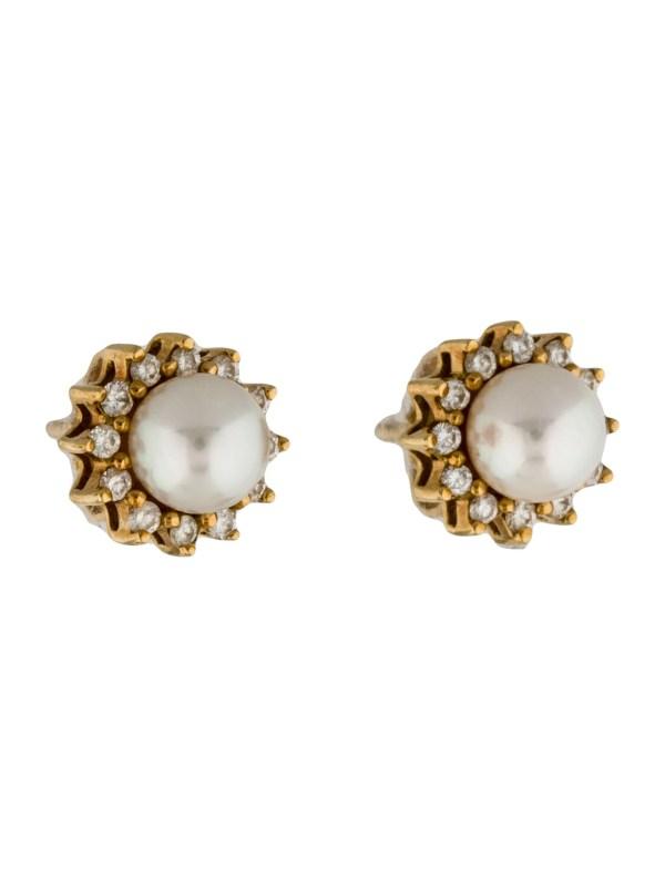 Tiffany & . 18k Pearl And Diamond Stud Earrings