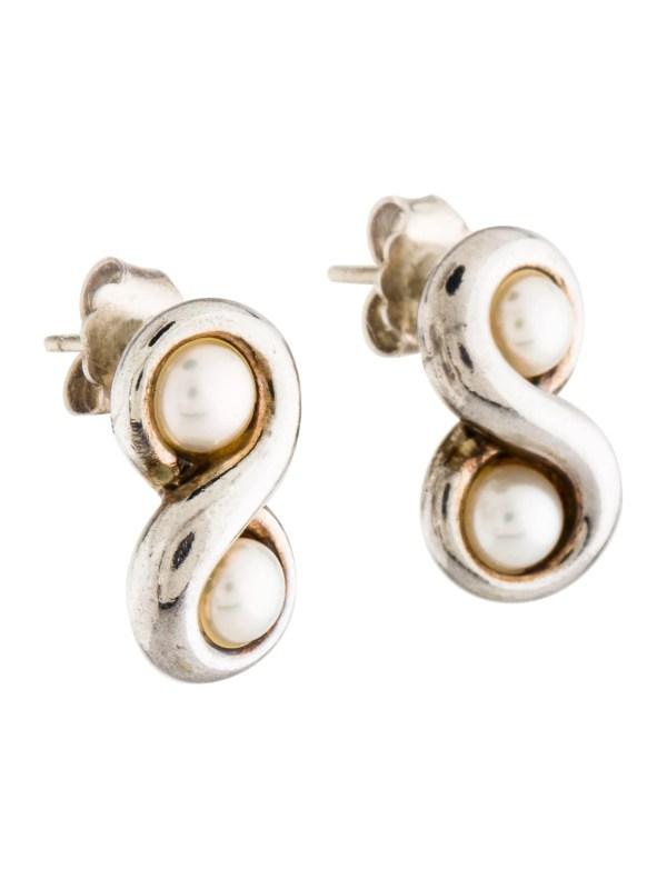 Tiffany & . Pearl Infinity Earrings