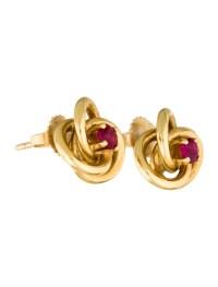 Tiffany & Co. 18K Ruby Love Knot Stud Earrings - Earrings ...